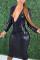 Black Fashion Sexy Solid Basic V Neck Long Sleeve Dress
