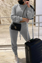 Grey Fashion Casual Solid Basic O Neck Long Sleeve Two Pieces