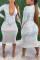 White Fashion Sexy Solid Basic V Neck Long Sleeve Dress