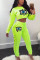 Fluorescent green Sexy Eyes Printed Sequins O Neck Long Sleeve Two Pieces