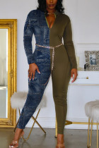 Army Green Sexy Solid Split Joint Turndown Collar Regular Jumpsuits