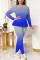 Blue Fashion Casual Gradual Change Print Strap Design O Neck Long Sleeve Two Pieces