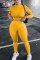 Yellow Living Solid O Neck Long Sleeve Two Pieces