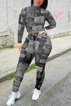 Grey Casual Print O Neck Long Sleeve Two Pieces