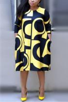 Yellow Fashion Printed Plus Size Dress