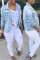 Baby Blue Casual Broken Holes Torn Edges Denim Coat