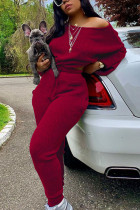 Purplish Red Fashion Casual Adult Solid Split Joint O Neck Plus Size Two Pieces