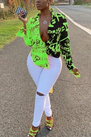 Green Sexy Graffiti Print Long Sleeve V-Neck Shirt