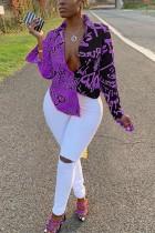 Purple Sexy Graffiti Print Long Sleeve V-Neck Shirt