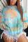 Baby Blue Fashion Casual Print Tie Dye Tie-dye O Neck Tops