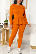 Orange Fashion Casual Solid Strap Design O Neck Long Sleeve Two Pieces