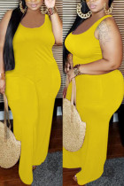 Yellow Sexy Solid Polyester Sleeveless Slip
