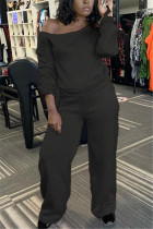 Black Fashion Casual Solid Basic Oblique Collar Long Sleeve Two Pieces