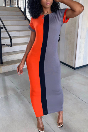 Red Fashion Stitching Round Neck Maxi Dress