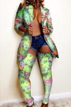 Fluorescence Fashion Trendy Casual Multicolor Print Two Pieces