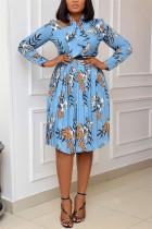Blue Fashion Casual Print Basic O Neck Pleated Dresses