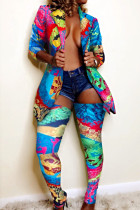 Blue Fashion Trendy Casual Multicolor Print Two Pieces
