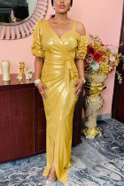 Gold Fashion Sexy Solid Slit Evening Dress