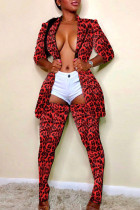 Red Fashion Trendy Casual Multicolor Print Two Pieces