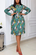 Green Fashion Casual Print Basic O Neck Pleated Dresses