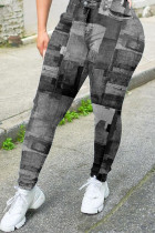 Grey Casual Plaid Straight Bottoms