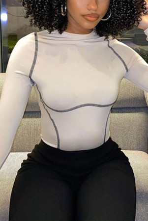 White Fashion Casual Solid Split Joint O Neck Tops