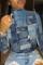 Blue Casual Print Turtleneck Mid Waist Tops