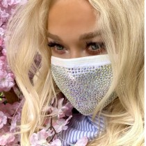 White Fashion Hot Drilling Decorative White Face Mask