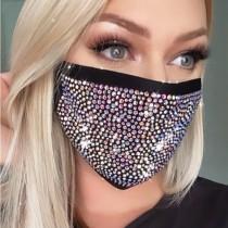 Black Fashion Hot Drilling Decorative White Face Mask