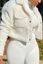 White Fashion Casual Solid Cardigan Turndown Collar Outerwear