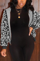 Black O Neck Leopard Zippered Patchwork Slim fit Sticky Others Long Sleeve