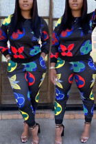 multicolor Casual Print O Neck Long Sleeve Two Pieces