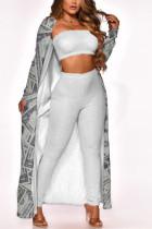 White Fashion Casual Print Cardigan Outerwear