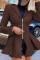 Brown Street Solid Turndown Collar Outerwear