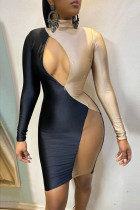 Gold Fashion Sexy Patchwork Hollowed Out Split Joint Turtleneck Long Sleeve Dress