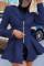 Blue Street Solid Turndown Collar Outerwear