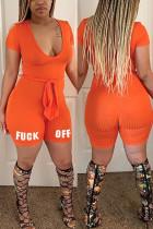 Orange Sexy Fashion Printed Short Sleeve Romper