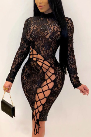 Black Sexy Solid Split Joint O Neck Wrapped Skirt Dresses