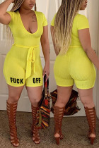 Yellow Sexy Fashion Printed Short Sleeve Romper
