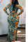 Lime green Sexy Print Fold V Neck Long Sleeve Dress Dresses