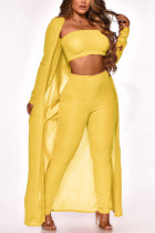 Yellow Sexy Casual Solid Cardigan Long Sleeve Three-piece Set