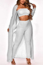 White Sexy Casual Solid Cardigan Long Sleeve Three-piece Set