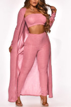 Pink Sexy Casual Solid Cardigan Long Sleeve Three-piece Set
