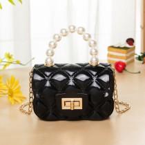 Black Fashion Patchwork Solid Chain Strap Crossbody Bag