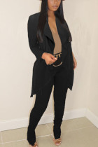 Black British Style Solid Long Sleeve Two Pieces
