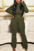 Army Green Casual Solid Flounce Half A Turtleneck Long Sleeve Two Pieces
