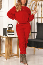 Red Casual Solid Fold O Neck Long Sleeve Two Pieces
