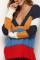 Navy blue Casual Color-lump Patchwork Knitting Sweaters