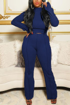 Navy Blue Casual Solid Flounce Half A Turtleneck Long Sleeve Two Pieces