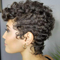 Brown Playful Cute Curly Wigs